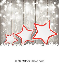 3 Christmas Stars Snow Wooden Background - Snow with stars...