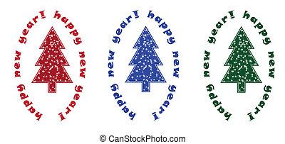 3 christmas tree on white background