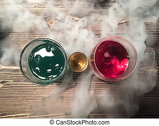 3 cocktails of different colors