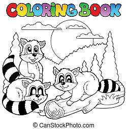 3, coloração, animais, livro, feliz