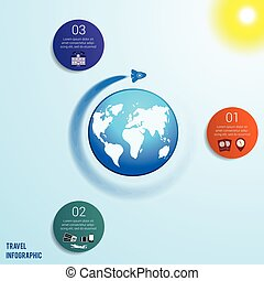 3 colored circles numbered with space for text around the world map
