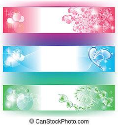 3, colori, bandiere, con, cuori, composizione