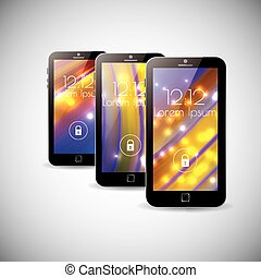 3 colors abstract background Smartphone interface themes