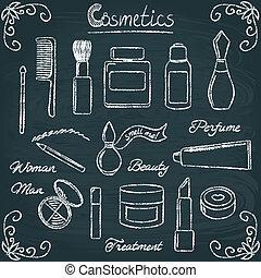 3, conjunto, botellas, pizarra, cosmético