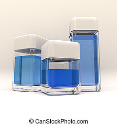 3 containers blue