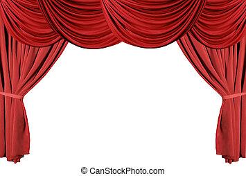3, cortinas, teatro, serie, cubierto, rojo