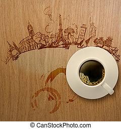 3, csésze kávécserje, utazó, világszerte, képben látható, fából való, háttér, mint, fogalom