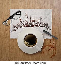 3, csésze kávécserje, utazó, világszerte, képben látható, gyűrött újság, és, fából való, háttér, mint, fogalom
