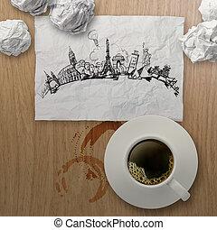 3, csésze kávécserje, utazó, világszerte, képben látható, gyűrött újság, és, fából való, háttér, mint, szüret, mód, fogalom