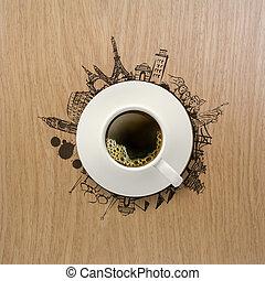 3, csésze kávécserje, utazó, világszerte, mint, fogalom