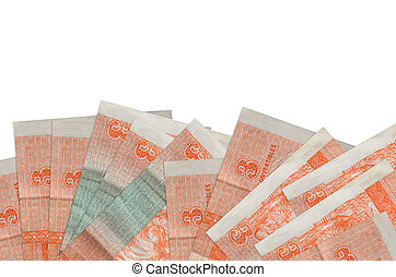 3 cuban pesos convertibles bills lies on bottom side of screen isolated on white background with copy space. Background banner template