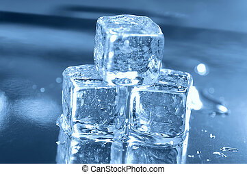 3, cubos, gelo