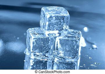 3, cubos, hielo