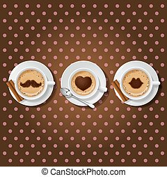 3 cups of cappuccino with love symbol - 3 cups of cappuccino...