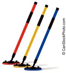 3 curling brooms angled
