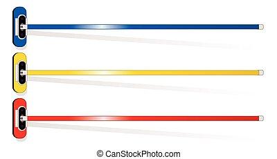 3 curling brooms in aerial view