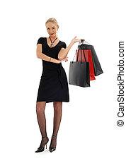 #3, czarny strój, zakupy, blond