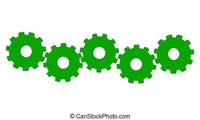 3 D animation five green gears rotate. White background. Alpha channel