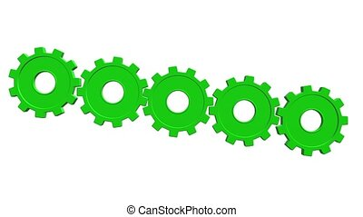 3 D animation five green gears rotate. White background....