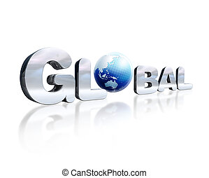 3 D chromed lettering with the word Global and earth globe in place of the O. On white reflective surface. Viewed in slight perspective.