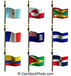 Flags - 3 D Computer Render of Flags of the Americas