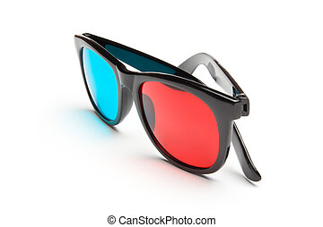 3-D Glasses - 3-D stereoscopic red, cyan cinema glasses on...