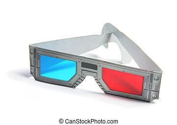 3-D Glasses on White Background