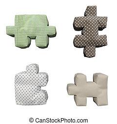 3, d, textil, rompecabezas