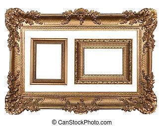 3, decorativo, oro, vuoto, parete, cornici