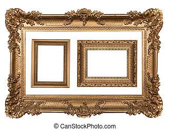 3, dekorativ, gold, leerer , wand, bild rahmt