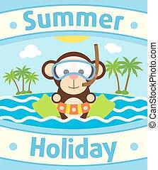 3, dier, achtergrond, zomer