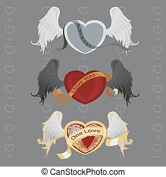 3 different hearts with wings