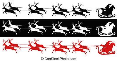 Santa sleigh and reindeers