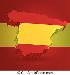 3 dimensional, térkép, közül, spanyolország, alatt, spanish lobogó, befest
