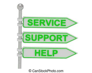 "3 Directional signs ""Service"", ""support"", ""help"""