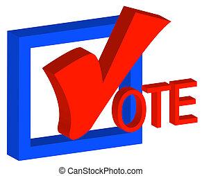 3, doboz, és, ellenőriz jelölés, javalló, fordíts, szavaz
