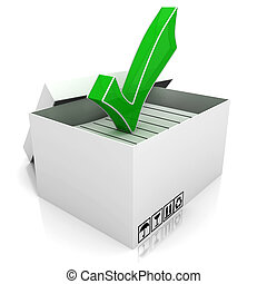 3, doboz, és, zöld, ellenőriz jelölés