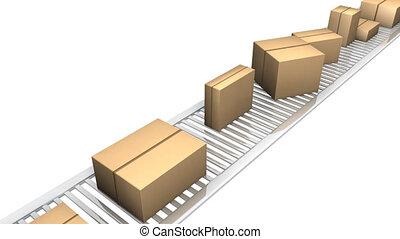 3, dobozok, alatt, egy, gyár