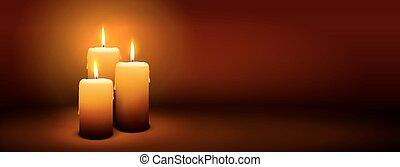 3, domingo, de, advenimiento, -, tercero, vela, -, candlelight, panorama, bandera