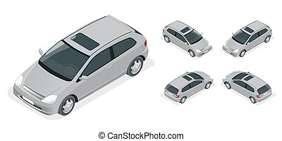 3-door Hatchback car isolated. Vector isometric icons set. Car vector template on white background. The ability to easily change the color. Urban transport.