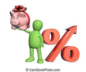 3, dukken, hos, piggy bank, og, cents per, symbol