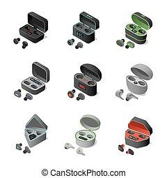 3, earbuds, rechargeable, cases., illustration., sätta, bluetooth, vektor, isometric, olik, hörlurar, radio