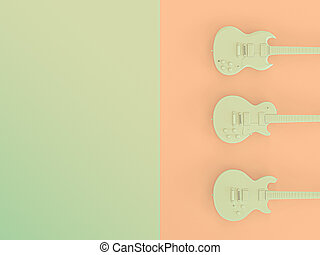 3 electric guitars on a two-color background. 3d render image.