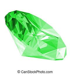 3, elszigetelt, ékkő, smaragdzöld