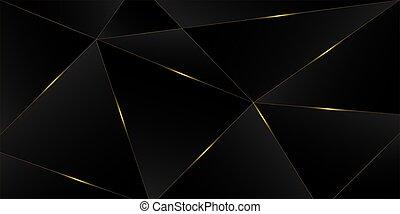 3, elvont, fényűzés, cover., új, polygonal, arany, háttér., fekete, fényes