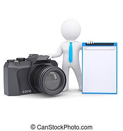 3, ember, és, fényképezőgép