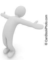 3, ember, elszigetelt, képben látható, white., series:, reggel, ünnepély, -, flexibilit