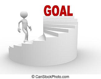 3, ember, noha, lépcsőfok, és, szó, gól