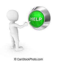 3, ember, sajtó, a, segítség, button.