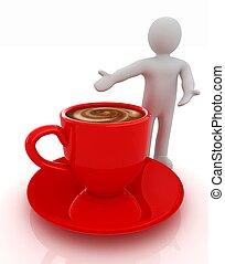 3, emberek, -, ember, személy, átnyújtás, -, bögre of kávécserje, noha, megfej